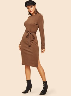 80s Slit Side Self Belted Rib-knit Dress