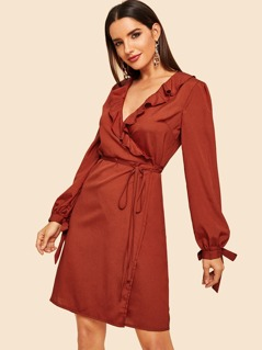Knot Cuff Surplice Ruffle Dress