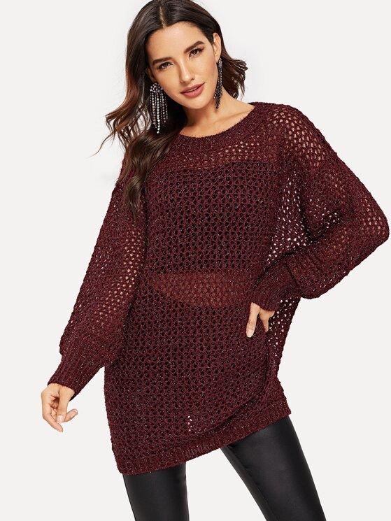 0594e20959 Semi Sheer Loose Knit Sweater