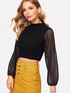 Mesh Sleeve Mixed Knit Crop Sweater