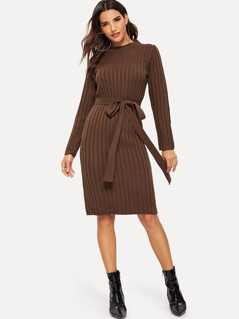 Solid Ribbed Knit Dress