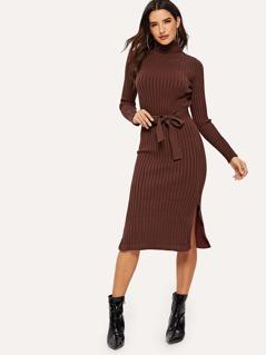 Buttoned Cuff Slit Hem Knit Dress
