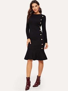 Button Up Ruffle Hem Sweater Dress