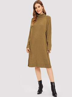 High Neck Solid Ribbed Knit Dress
