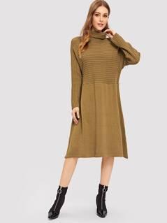 Cut-and-sew Mixed Knit Trapeze Dress
