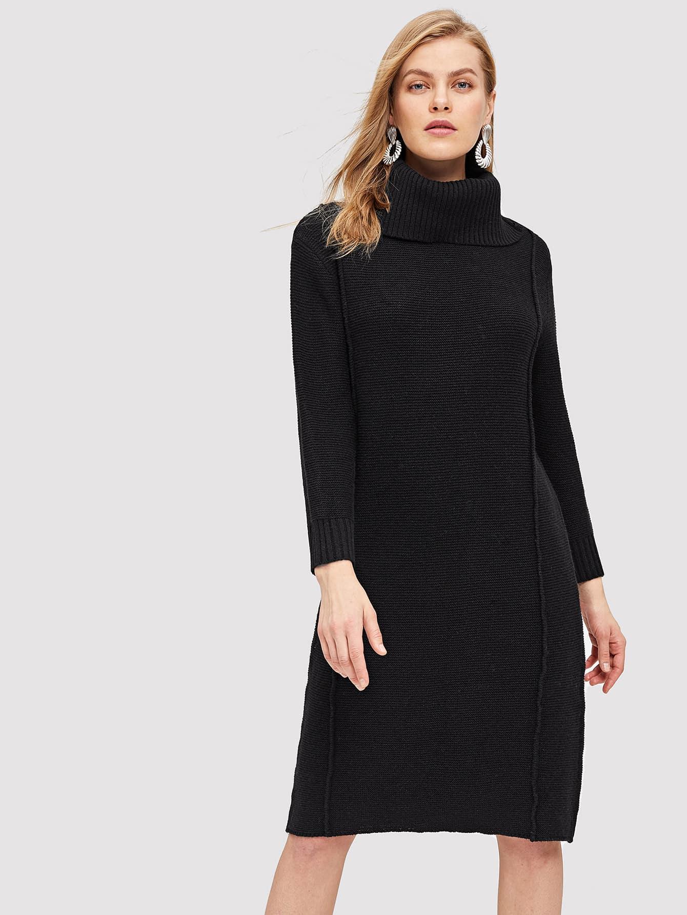 Купить Однотонное платье-свитер с высоким воротником, Kate C, SheIn