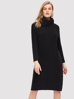 High Neck Solid Sweater Dress