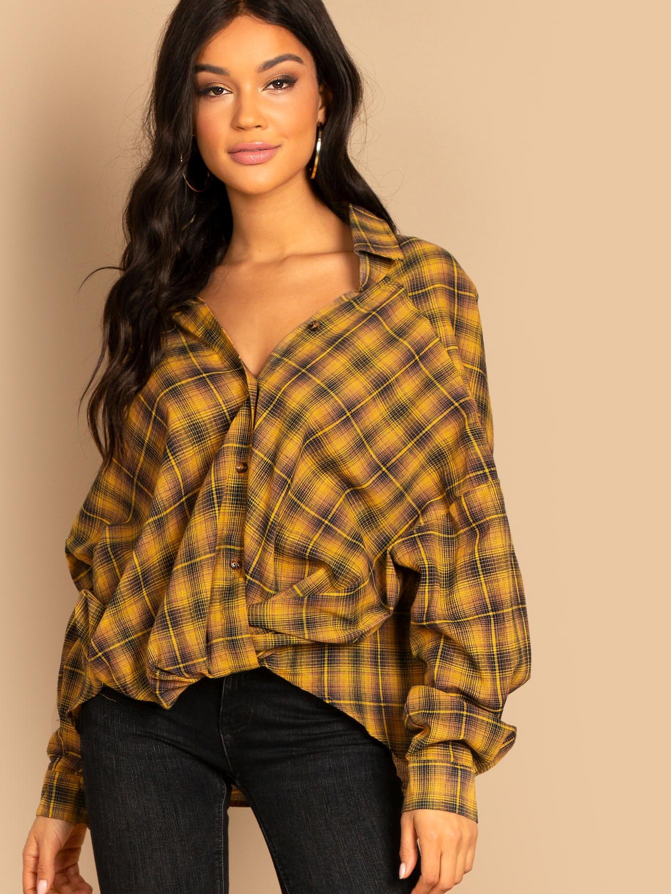 Купить Рубашка в клетку с заниженной линией плеч, Juliette, SheIn