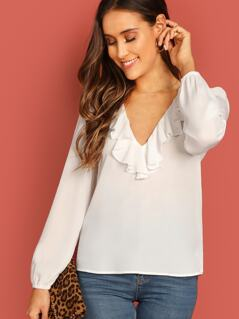 V Neck Ruffle Trim Blouse