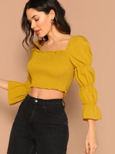 Gathered Sleeve Frilled Shirred Crop Top