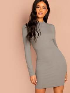 Form Fitting Ribbed Knit Dress