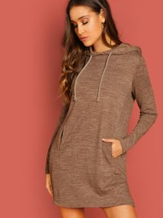 Slit Side Drawstring Hoodie Dress