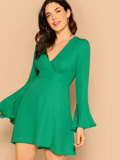 Plunging Neck Bell Sleeve Dress