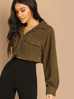 Solid Crop Teddy Jacket