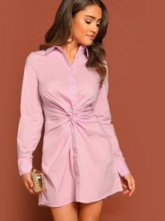 Button Front Knot Detail Long Sleeve Shirt Dress