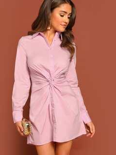Button Front Knot Detail Long Sleeve Shirt Dress