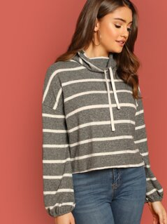 Drawstring High Neck Striped Brush Knit Sweater