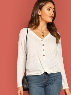 Rib Knit Half Button Front Knot Long Sleeve Top