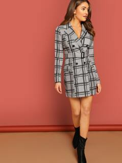 Plaid Check Double Breasted Waist Tie Long Coat