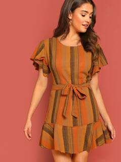 Raw Edge Flutter Sleeve Ruffle Hem Striped Dress