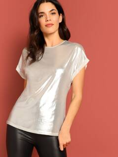 Roll Cuff Coated T-shirt