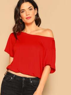 Asymmetric Shoulder Elastic Hem Tee