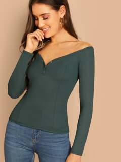 Off Shoulder Form Fitted Tee