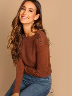Button Shoulder Ribbed Knit Tee