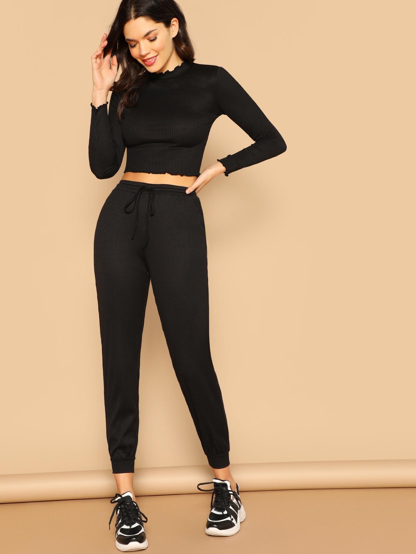 Купить Облегающий короткий топ и спортивные брюки комплект, Aarika Wolf, SheIn