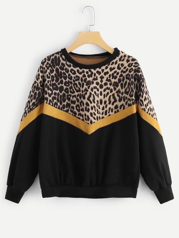 Купить Размера плюс свитшот с заниженной линией плеч и контрастным леопардовым принтом, null, SheIn