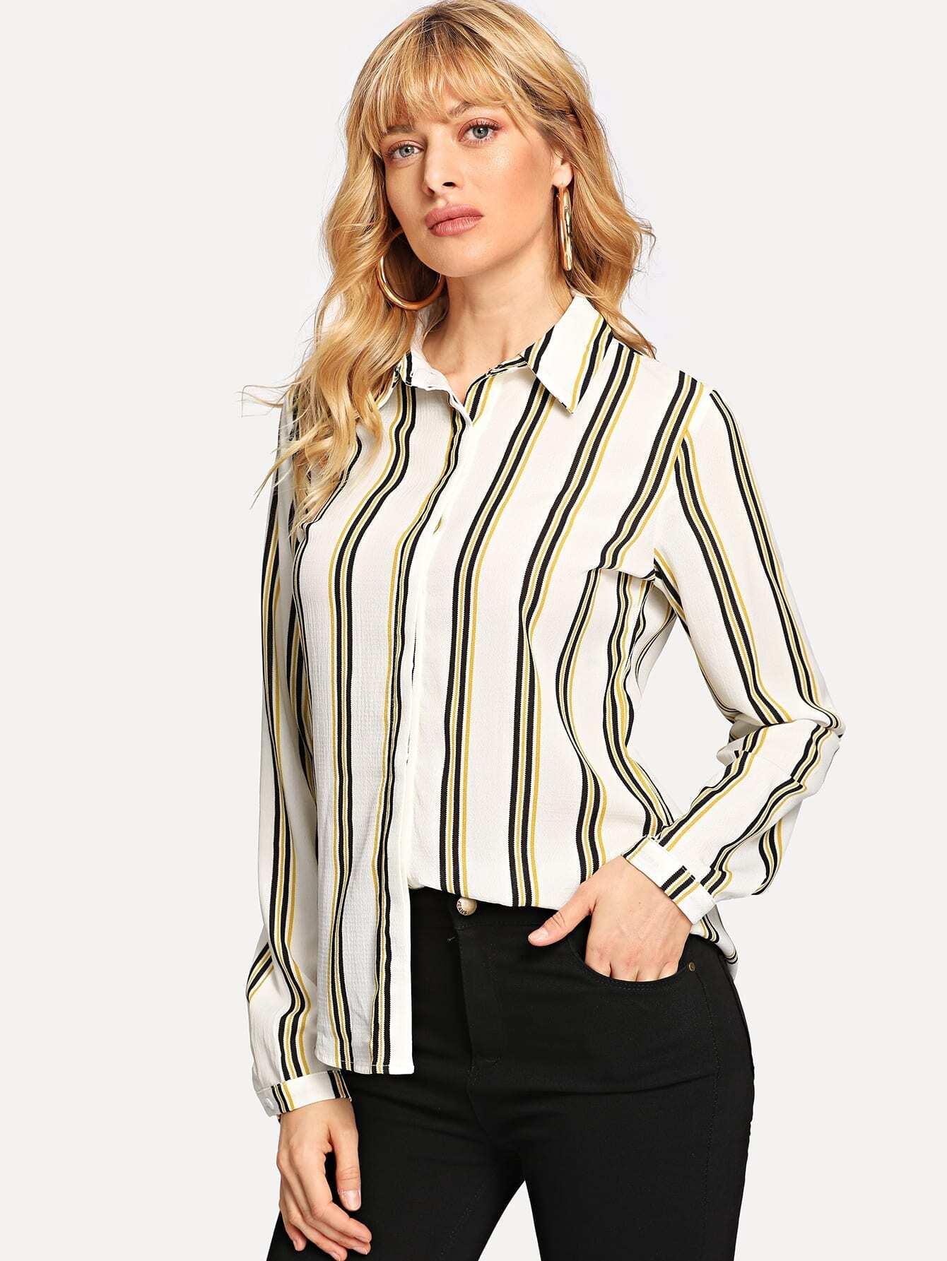 Купить Полосатая рубашка с пуговицами, Masha, SheIn