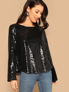 Curved Hem Sequin Top