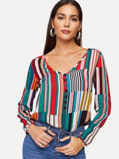 V-cut Neck Button Front Striped Top