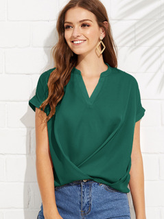 V-neck Gathered Hem Blouse