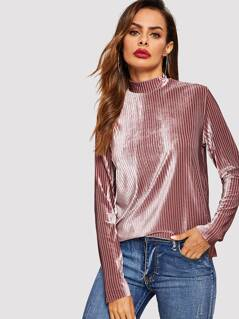 Mock-neck Zip Back Striped Velvet Blouse