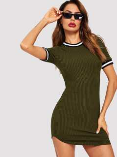 Striped Trim Ribbed Bodycon Dress