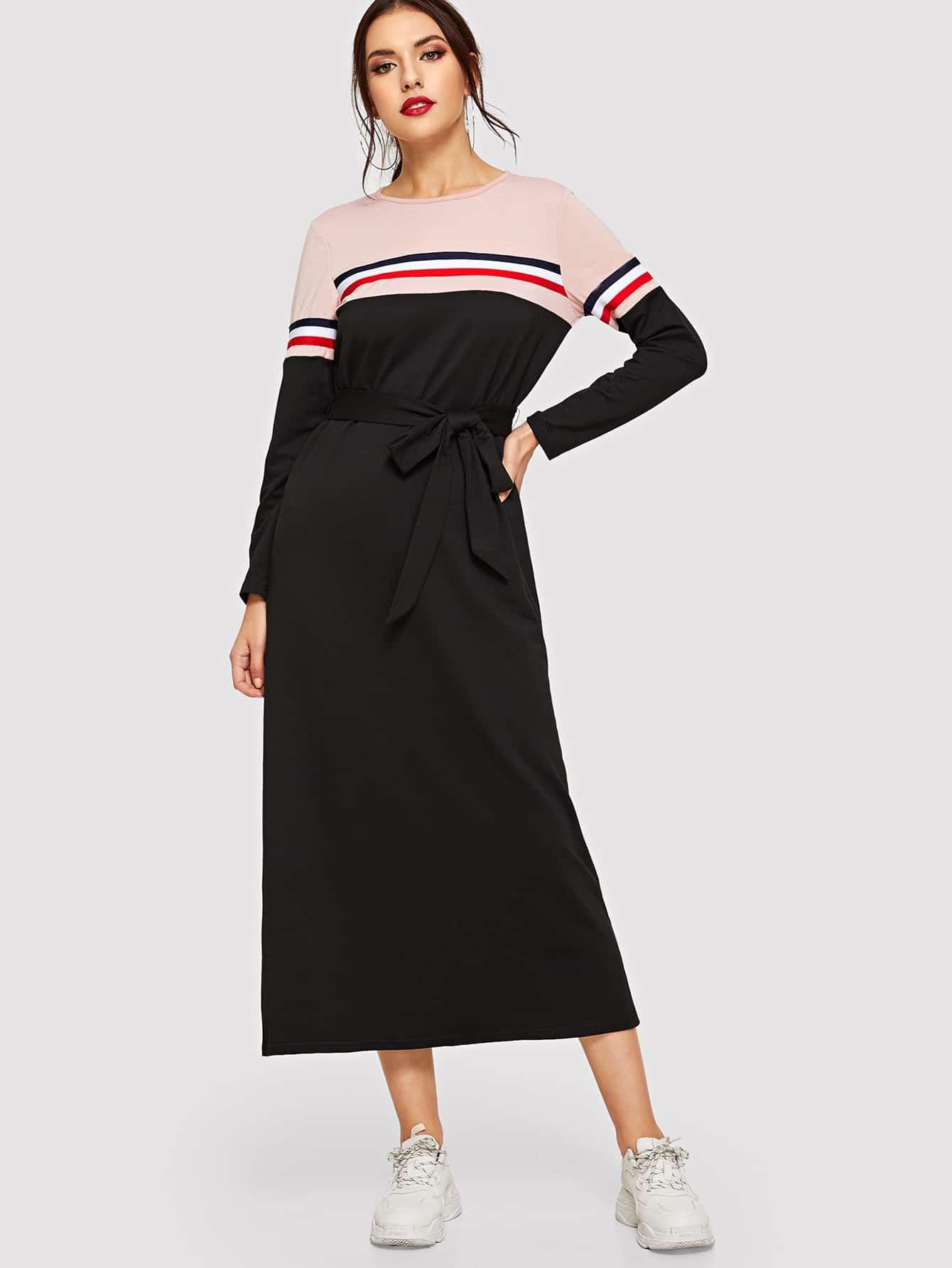 Купить Контрастное полосатое платье с поясом, Lryna, SheIn