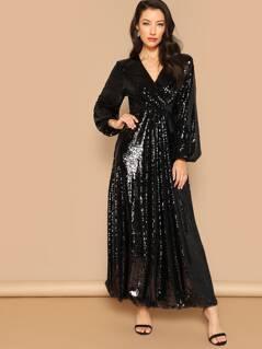 Surplice Wrap Prom Maxi Sequin Dress
