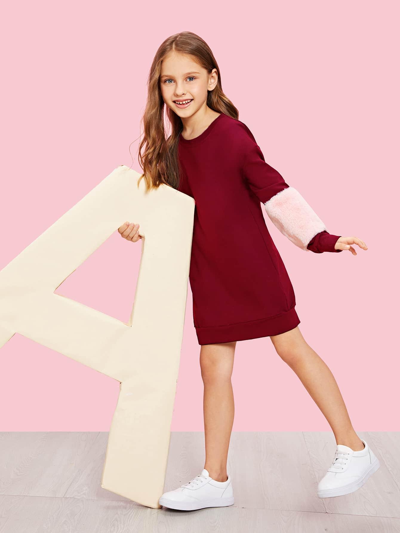 Купить Плоское платье-свитшот с искусственным мехом для девочек, Anna C, SheIn