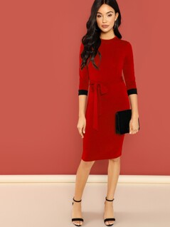 Contrast Cuff Knot Front Bodycon Dress