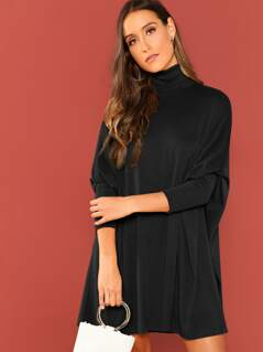 Turtle Neck Batwing Sleeve Solid Dress