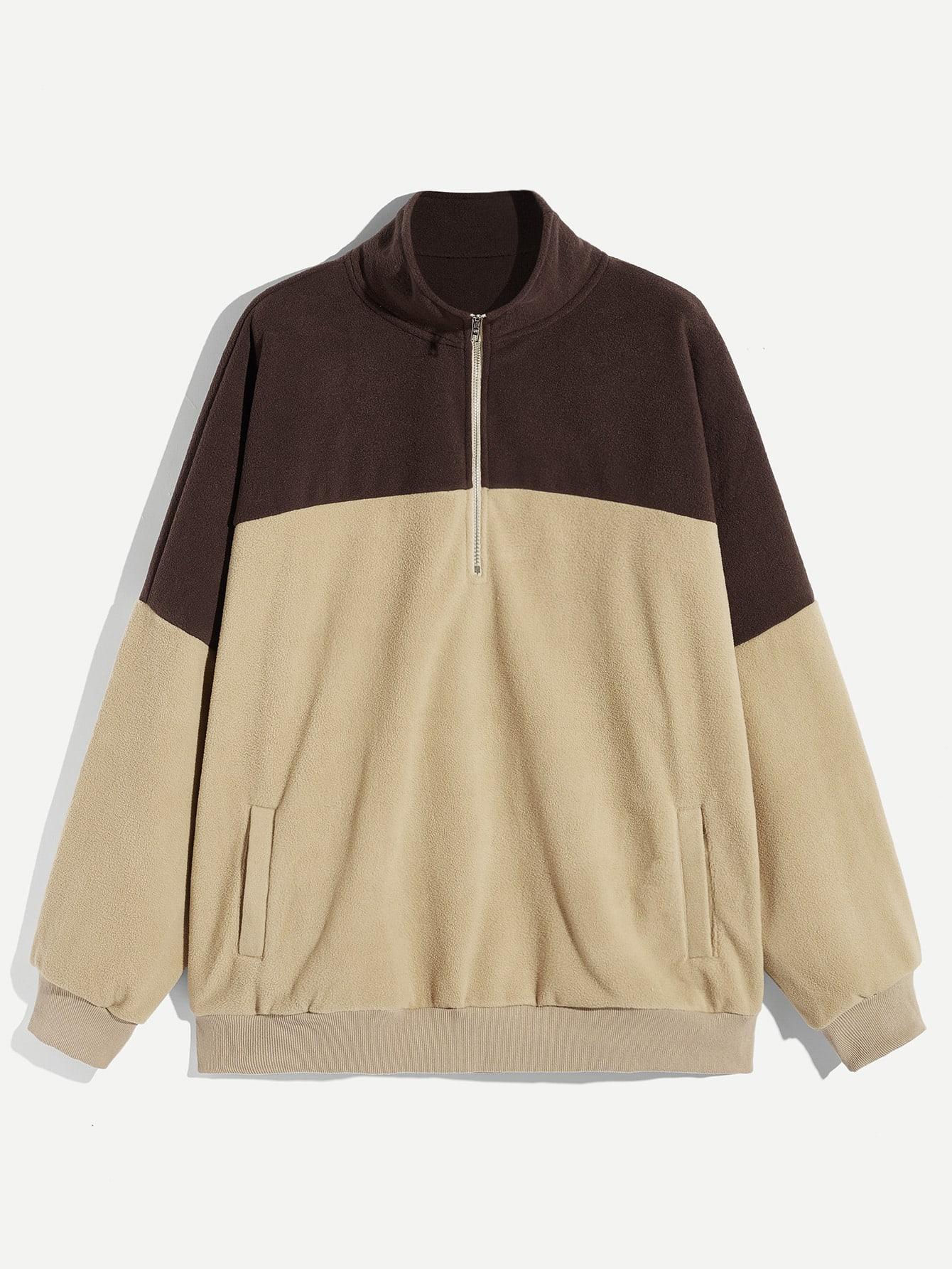 Купить Мужская двухцветная пушистая куртка на молнии, null, SheIn