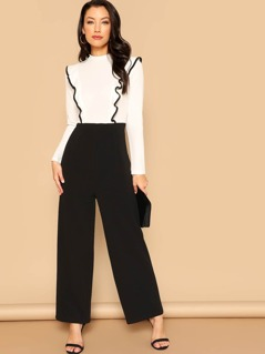 Zip Back Ruffle Detail Two Tone Jumpsuit