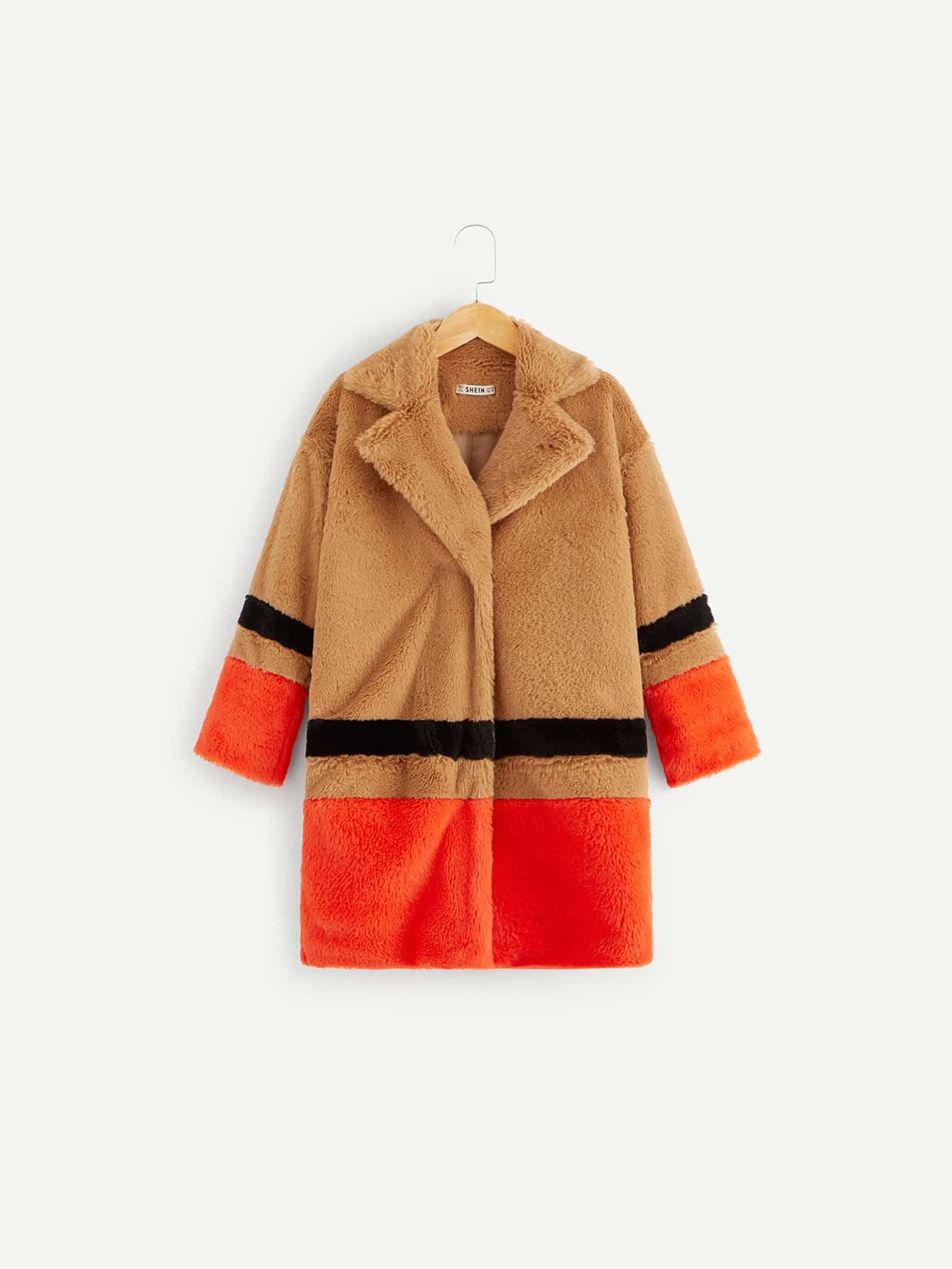 Купить Контрастное пушистое пальто для девочек, null, SheIn