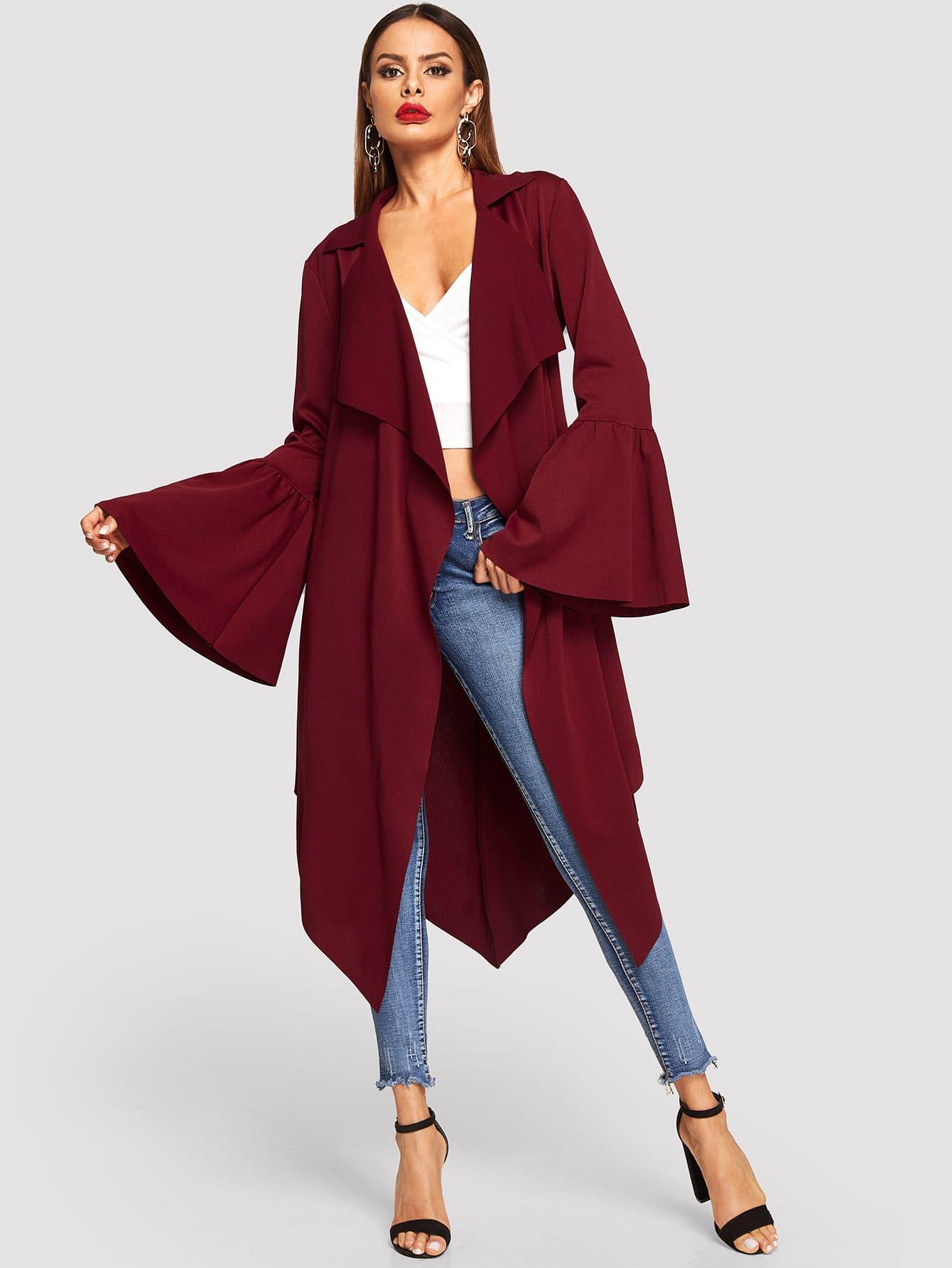 Купить Однотонное пальто с поясом и оригинальным рукавом, Andy, SheIn
