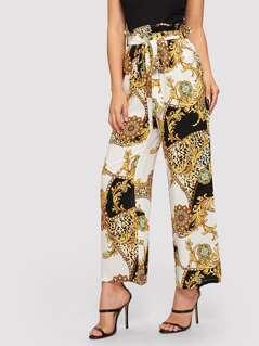 Paperbag Waist Scarf Print Wide Leg Pants