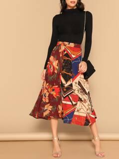 Mixed Print Zip Back Skirt