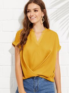 Cross Draped Hem Top