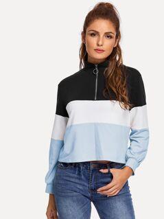 Color-Block Zip Half Placket Pullover