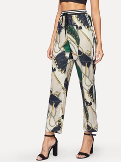 Drawstring Waist Mixed Print Straight Leg Pants